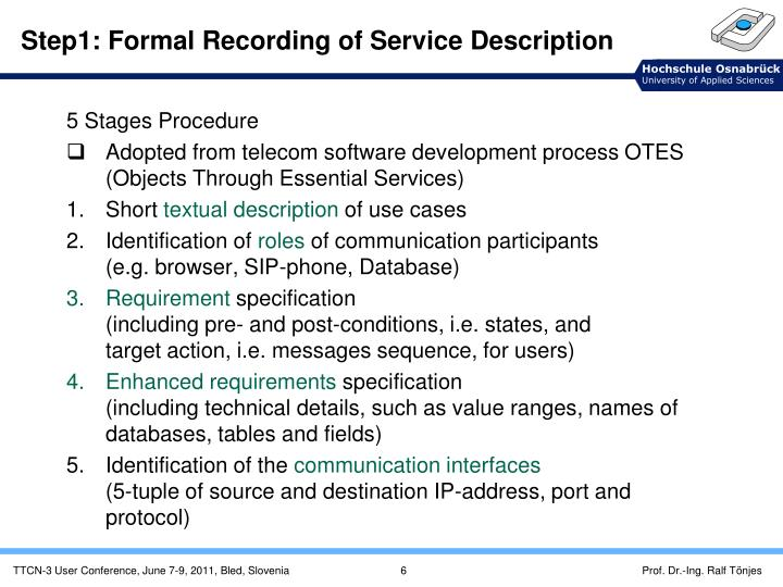 Step1: Formal Recording of Service Description