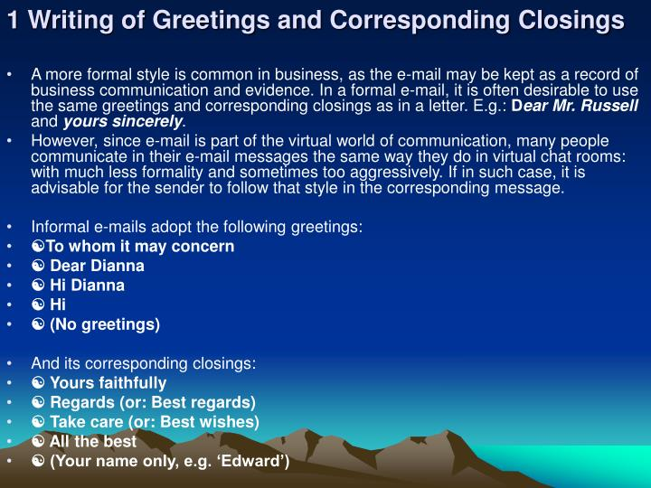1 Writing of Greetings and Corresponding Closings