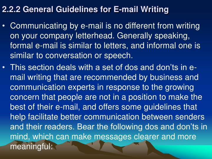 2.2.2 General Guidelines for E-mail Writing