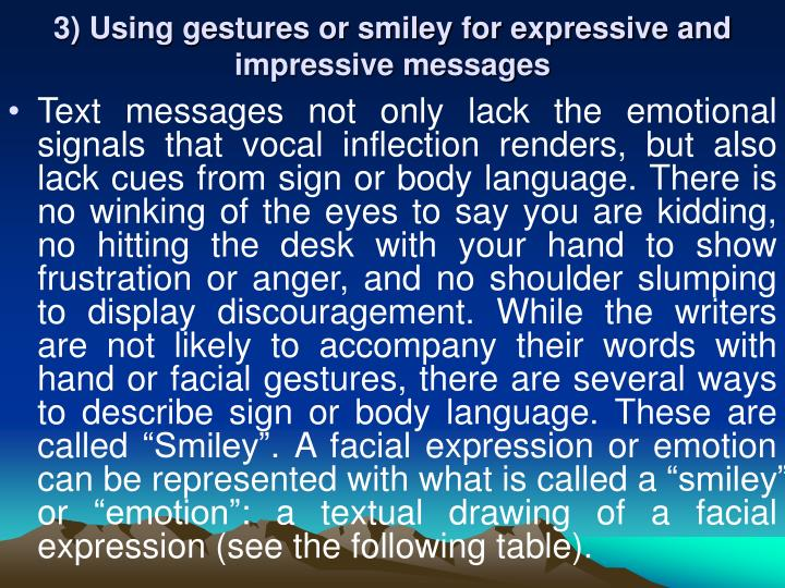 3) Using gestures or smiley for expressive and impressive messages