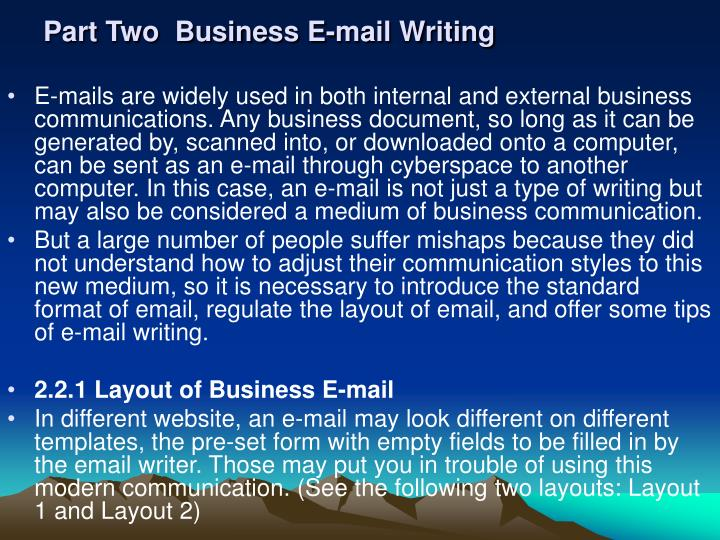 Part Two  Business E-mail Writing