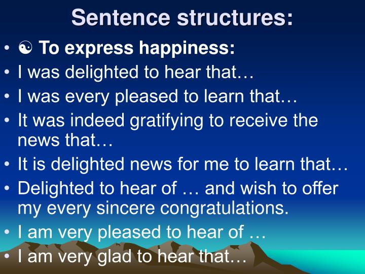 Sentence structures: