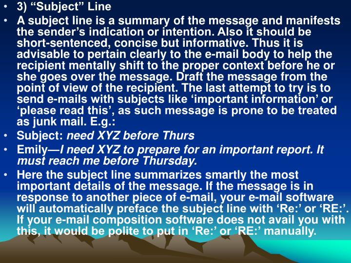 "3) ""Subject"" Line"