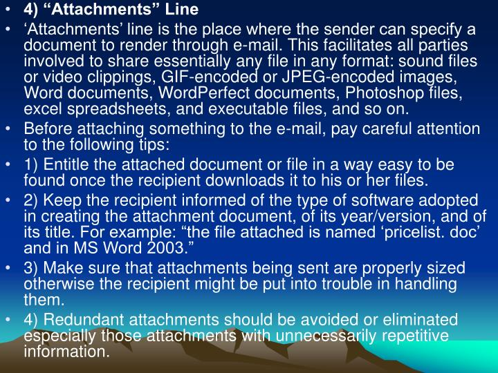 "4) ""Attachments"" Line"