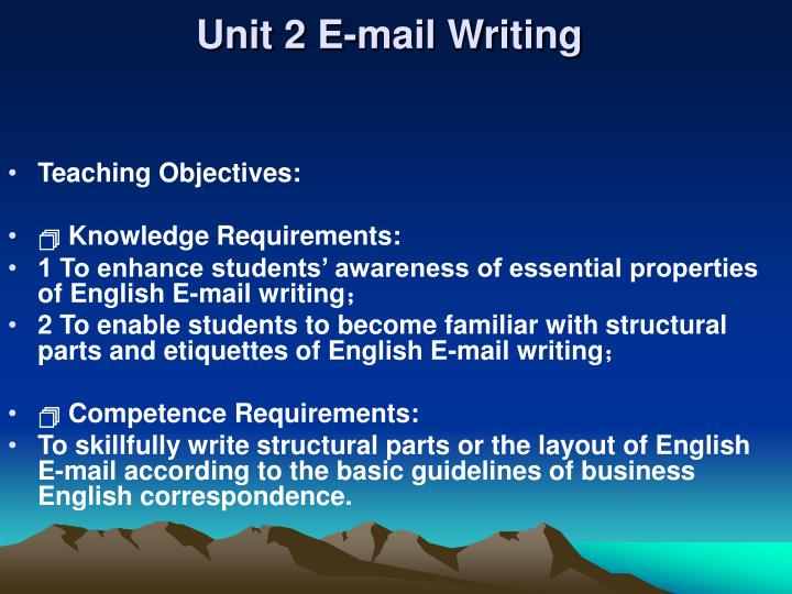 Unit 2 e mail writing