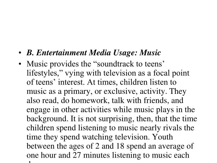 B. Entertainment Media Usage: Music