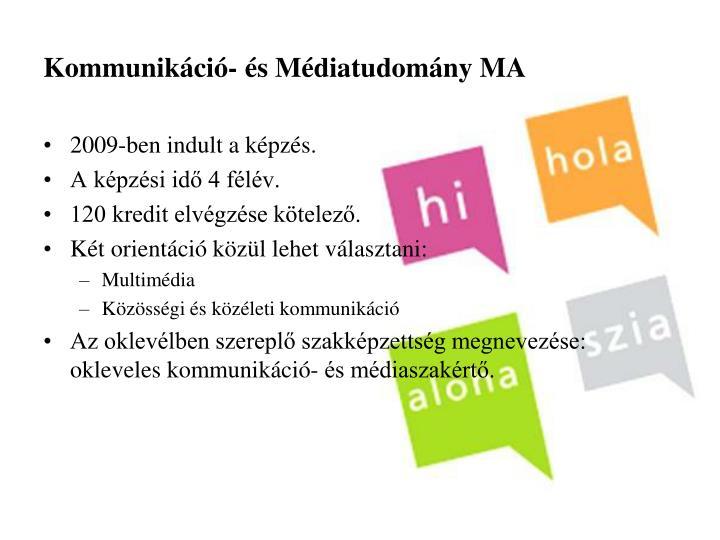 Kommunikáció- és Médiatudomány MA