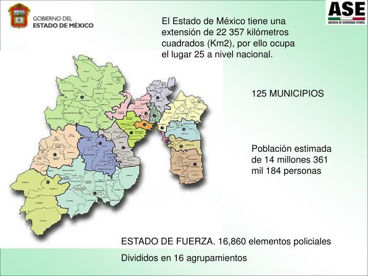 El Estado de México tiene una extensión de 22 357 kilómetros cuadrados (Km2), por ello ocupa el lugar 25 a nivel nacional.