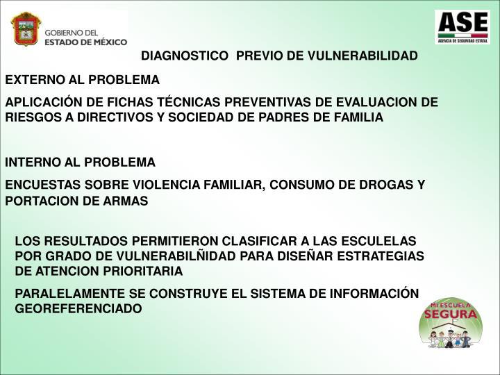 DIAGNOSTICO  PREVIO DE VULNERABILIDAD