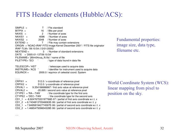 FITS Header elements (Hubble/ACS):