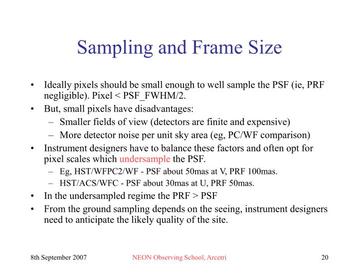 Sampling and Frame Size
