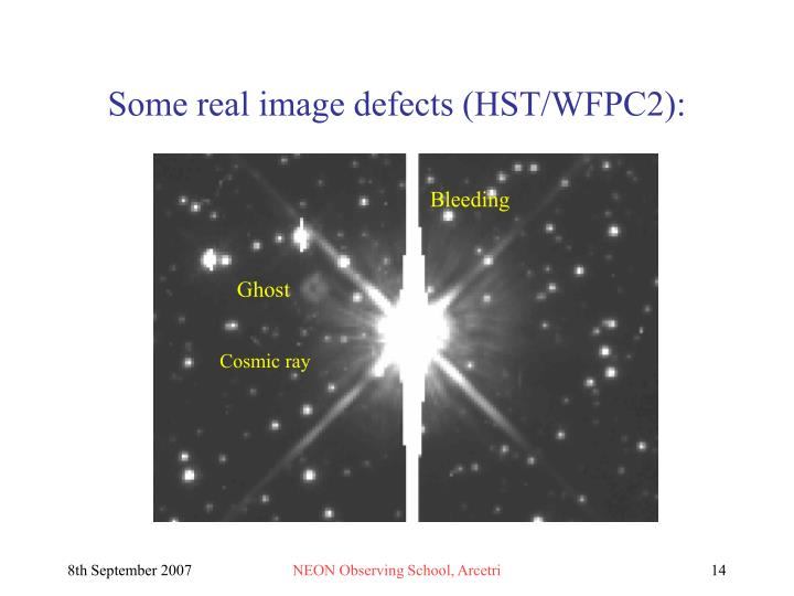 Some real image defects (HST/WFPC2):
