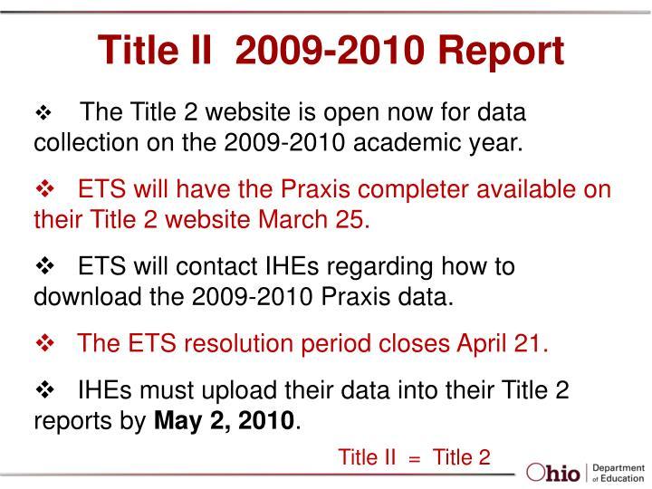 Title II  2009-2010 Report