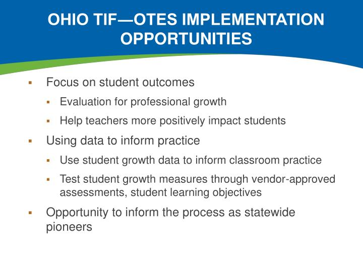 Ohio TIF―OTES Implementation Opportunities
