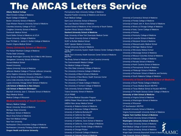The AMCAS Letters Service