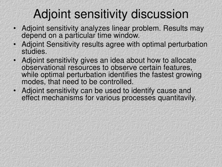 Adjoint sensitivity discussion