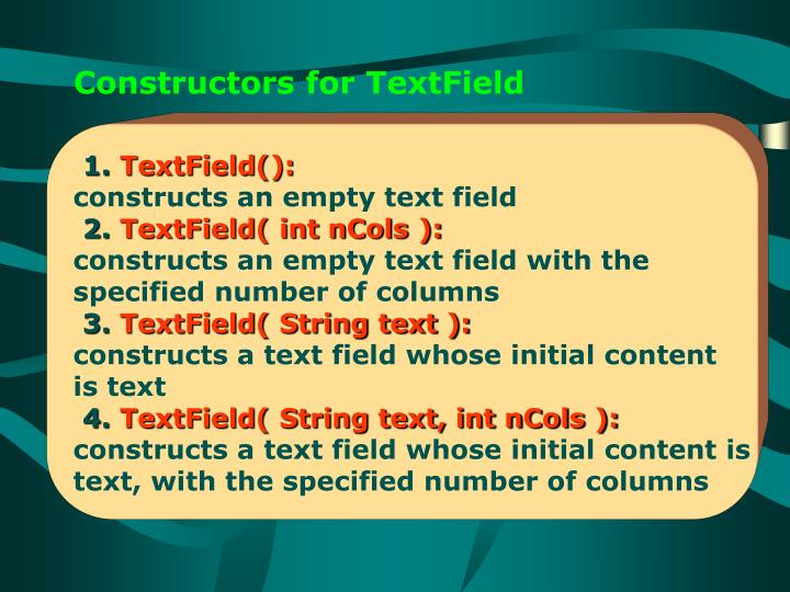 Constructors for TextField