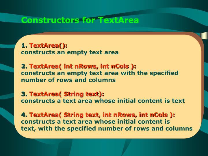 Constructors for TextArea