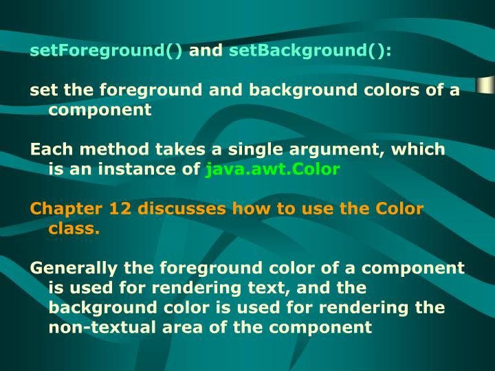setForeground()