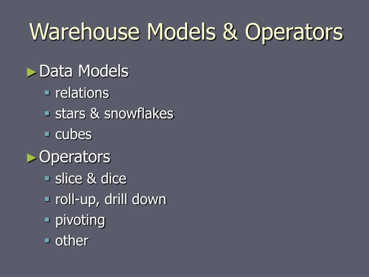 Warehouse Models & Operators