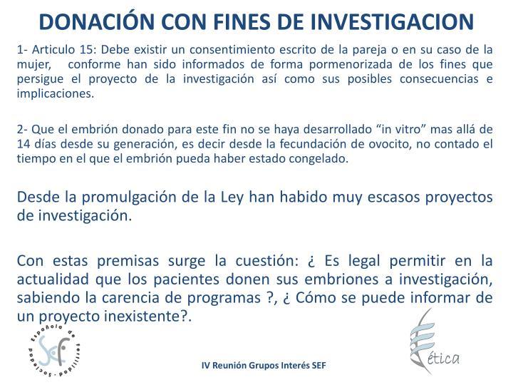 DONACIÓN CON FINES DE INVESTIGACION