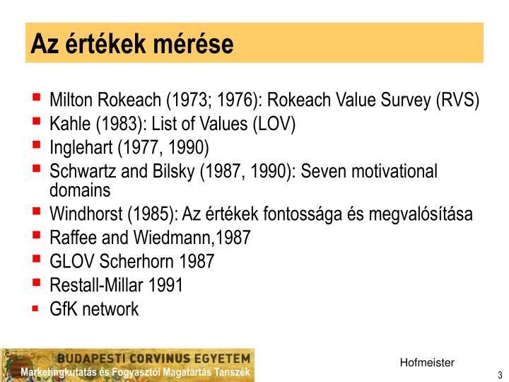 Az értékek mérése
