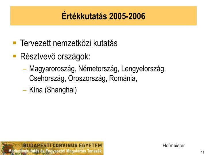 Értékkutatás 2005-2006