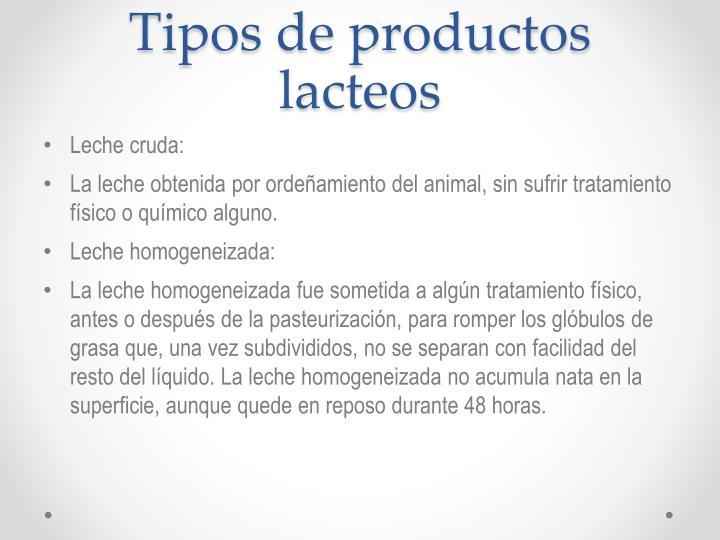 Tipos de productos lacteos