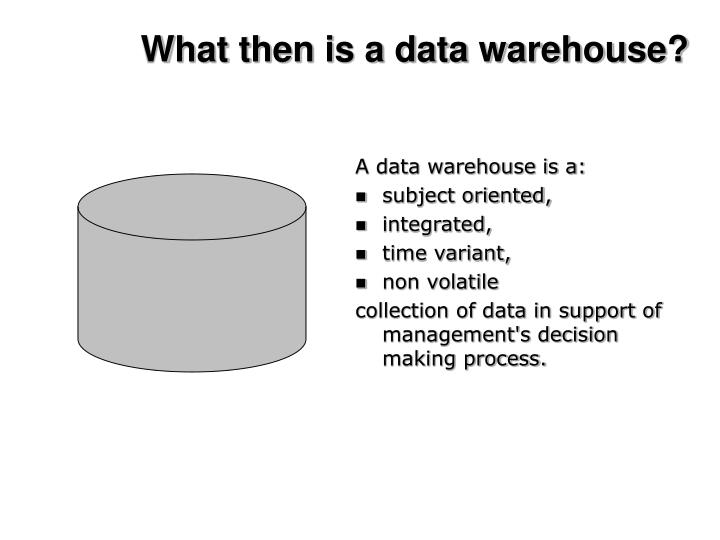 What then is a data warehouse?