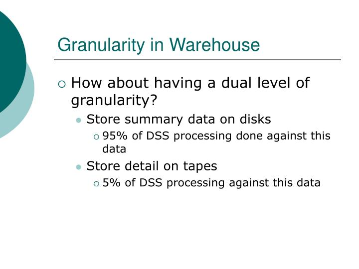 Granularity in Warehouse