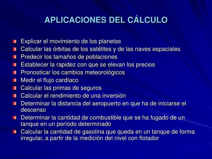 APLICACIONES DEL CÁLCULO