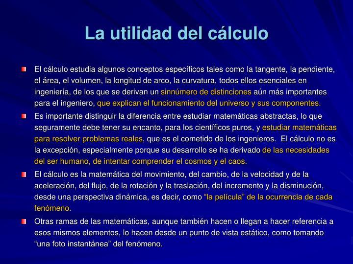 La utilidad del cálculo