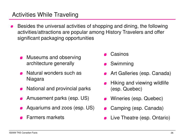 Activities While Traveling