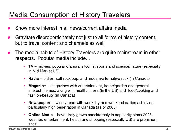 Media Consumption of History Travelers