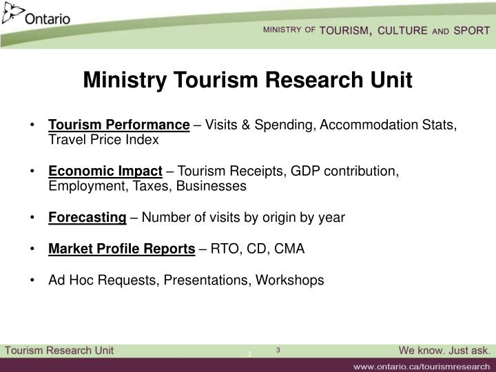 Ministry Tourism Research Unit