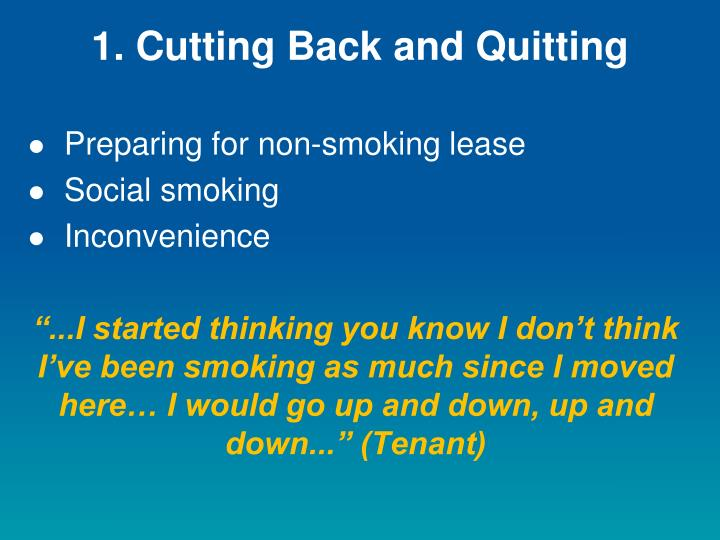 1 cutting back and quitting