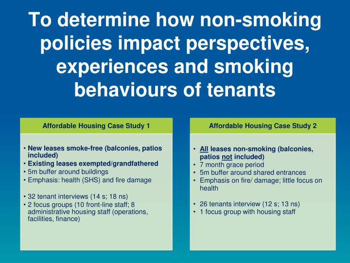 To determine how non-smoking policies impact perspectives, experiences and smoking behaviours of tenants