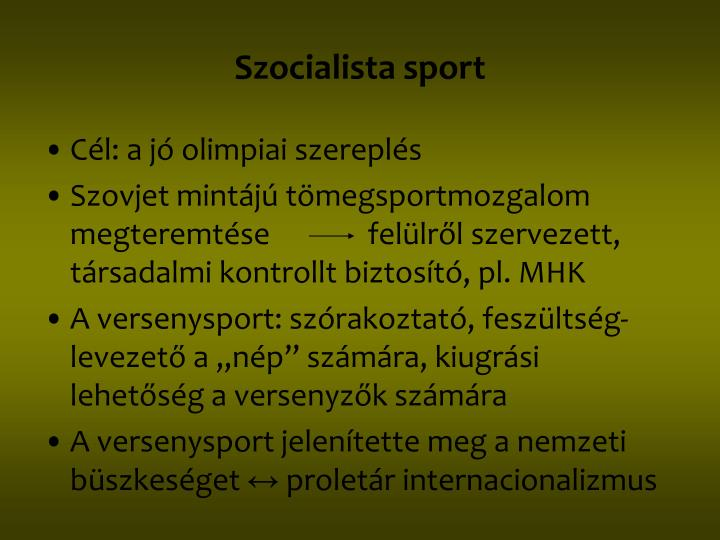 Szocialista sport