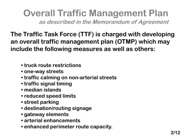 Overall Traffic Management Plan