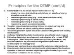 principles for the otmp cont d