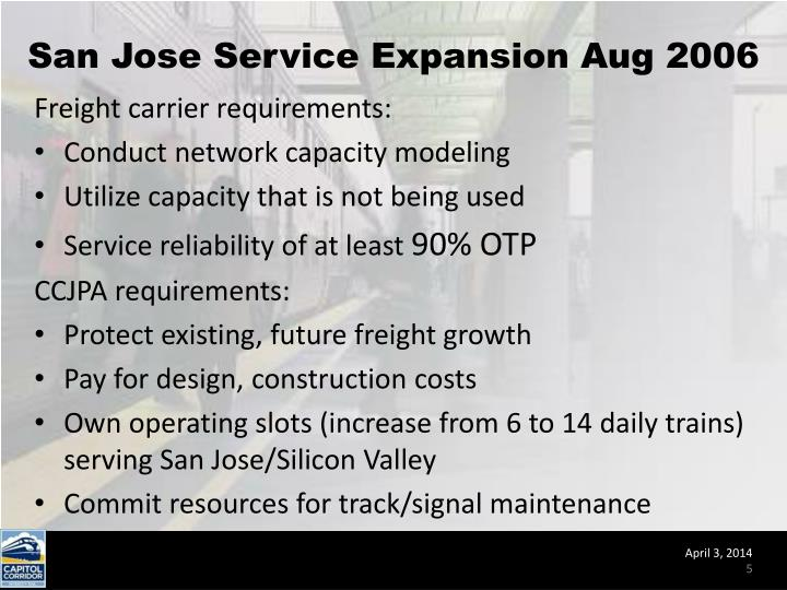 San Jose Service Expansion Aug 2006