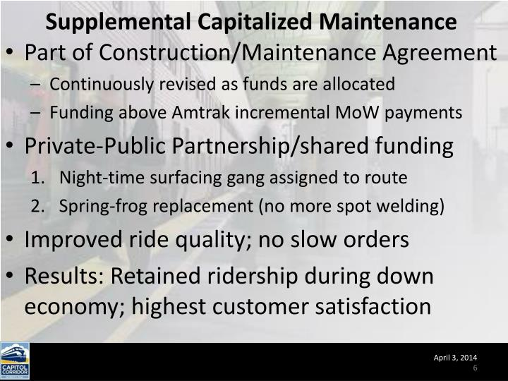 Supplemental Capitalized Maintenance