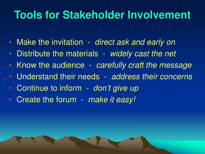Tools for Stakeholder Involvement
