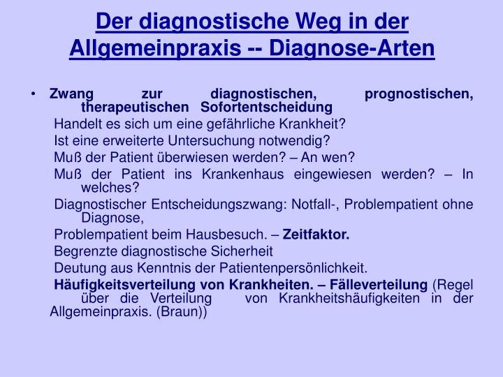 Der diagnostische Weg in der Allgemeinpraxis -- Diagnose-Arten