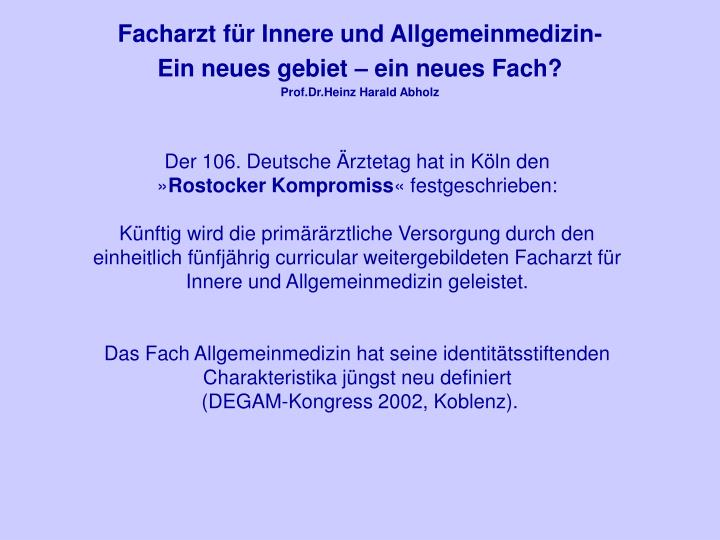 Facharzt fr Innere und Allgemeinmedizin-