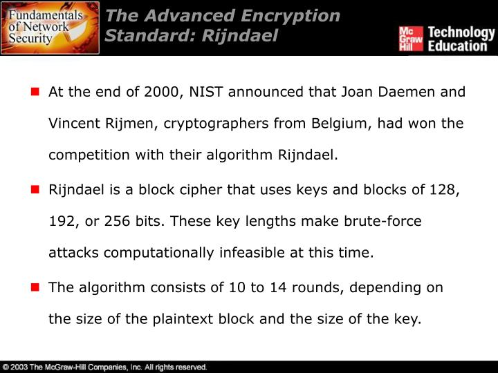 The Advanced Encryption Standard: Rijndael