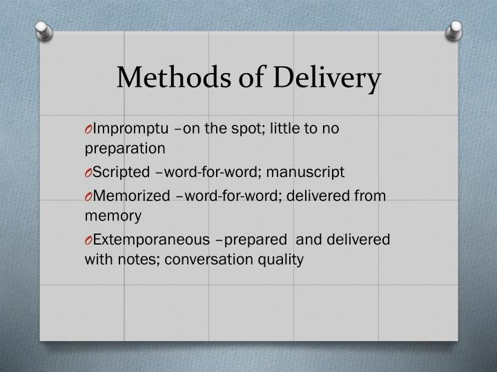 Methods of delivery