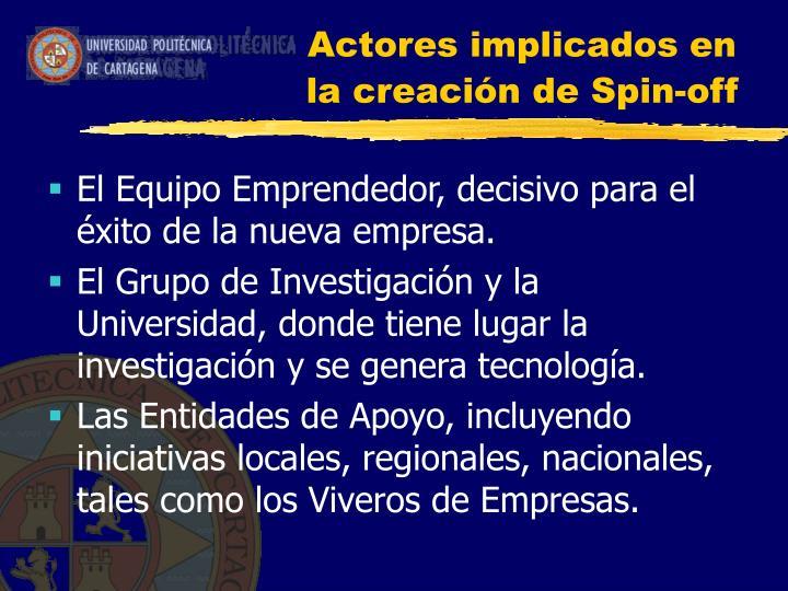 Actores implicados en la creación de Spin-off