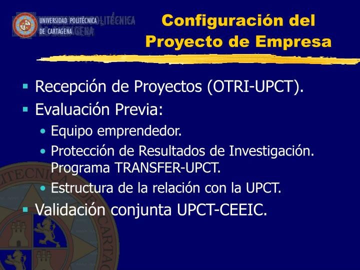Configuración del Proyecto de Empresa