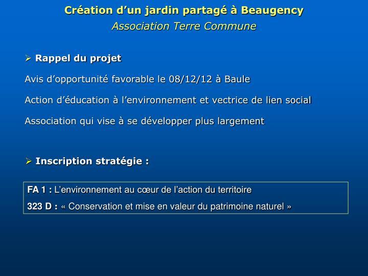 Création d'un jardin partagé à Beaugency